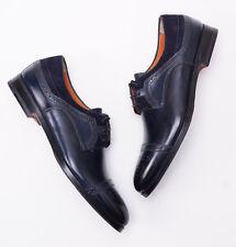 NIB $1075 SANTONI FATTE A MANO Antique Navy Blue Laceup Captoe US 6 D Shoes