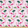 BTY TT PINK FLAMINGOS & Palm Trees Print 100% Cotton Quilt Craft Fabric by Yard