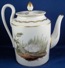 Antique Old Paris French Porcelain Tea Pot Bird Scene Teapot Porcelaine Vieux de