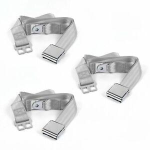 Desoto 1946 1961 Airplane 2 Pt. Gray/Grey Lap Bench Seat Belt Kit 3 Belts