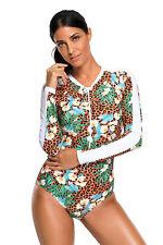 Traje de baño de una pieza de leopardo acentuado con estampado floral mujer