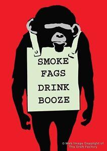 Smoke Fags Drink Booze Card + Badge - MonkeySign  MSB09 - Blank Card