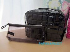 2pc Lancome Glossy Black Quilted Cosmetic Case Bag with Transparent Purse