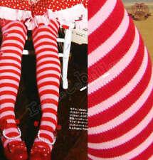 """Lolita PINK RED Stripe Thigh Knee 22""""-25"""" Stocking Sock"""