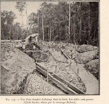 GUYANE GUIANA FOREST GOLD PROSPECTOR SLUICE DALLE OR PROSPECTEUR 1907 PRINT