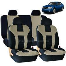 BEIGE & BLACK DOUBLE STITCH SEAT COVERS 8PC SET for DODGE JOURNEY