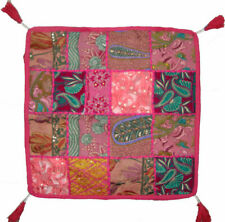 Indian Square Ottoman Pouf Vintage Patchwork Floor Cushion Cover Dog Mat Seat