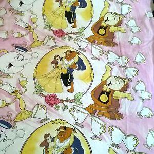 Disney BEAUTY AND THE BEAST Twin Flat Sheet Cutter Craft Irregular Vintage 1994
