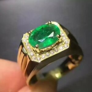 Natural Emerald Gemstone with Gold Plated 925 Sterling Silver Men's Ring AJ768
