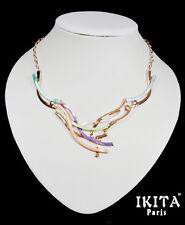 Luxus Statement Kette Halskette Collier  Ikita Paris Emaille Metall Vergoldet
