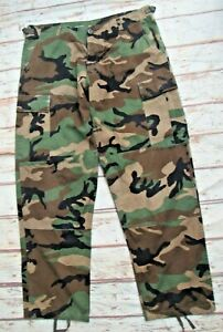 """Vintage US Army woodland camouflage Ripstop BDU combat trousers W38"""" L31"""""""