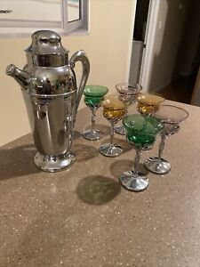 "Vintage Art Deco Bar Set Chrome 12"" Cocktail Shaker W/6 6"" Stem Goblets"