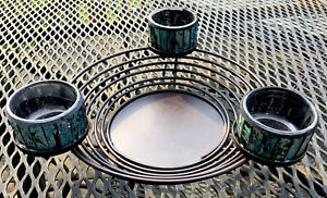 Spiral Metal Candle Holder w 3 Trays & Teal Black Stained-Glass Tea Lite Holders