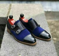 Mens Handmade Black Leather & Blue Suede Monk Strap Double Buckle Shoes for Men