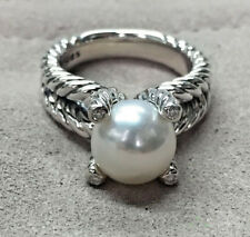925 Sterling Silver Cable Pearl Ring White Diamonds With Four Prong Set