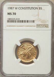 1987-W $5 Gold Constitution / NGC MS-70