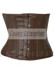 Cincher Shaper Taillen Waspie Steel Boned Waistbust Real Brown Leather Corset