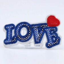 Love Patch Blue Sequin Iron Sew on Badge Heart Bag Jeans Jacket Coat Denim UK