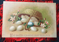 Victorian postcard  silk fringe Easter double sided egg basket card red