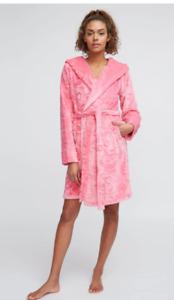 Vera Bradley Soft Plush Fleece Hooded Robe Sweethearts & Flowers L-XL NWTS