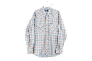 Vintage 80s Wrangler Mens Medium Double Pocket Plaid Pearl Snap Western Shirt