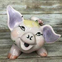 Vintage Lefton Pink Pig Piggy Coin Bank 3D Raised Flowers Ceramic