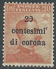 1919 TRENTO E TRIESTE EFFIGIE 20 CENT VARIETà SOPRASTAMPA MNH ** - Z2-6