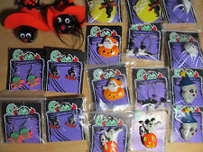 20 Assorted Fabric Plastic Halloween Necklaces Rings Pins Ghost Spider Pumpkins