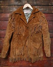 VTG SCHOTT NYC BROWN SUEDE LEATHER FRINGED WESTERN RANCHER JACKET 10/12