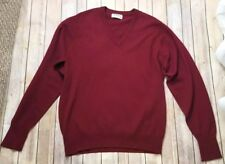 Vtg Ballantyne 100% Cashmere V Neck Sweater 117cm/46 (XL) Mens Deep Red Scotland
