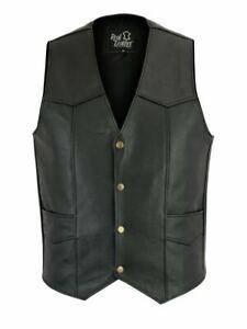 Black Real Leather Plain Waistcoat Motorbike Waistcoat Black Vest