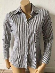 TALBOTS PETITES Womens Size 6P 6 Striped Button Up Collared Long Sleeve Shirt