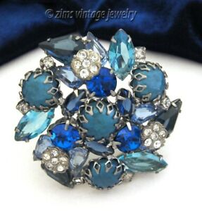 Vintage 1950's Modernist BLUE rhinestone pearl FLORAL Flower silver PIN brooch