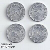 Set 4 x 50 Pfennig 1919 1920 1921 1922 - Weimarer Republik Aluminium
