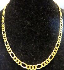 14K YELLOW GOLD,THICK  FIGARO NECKLACE,  4.6 MM WIDE, 18 INCHES LONG