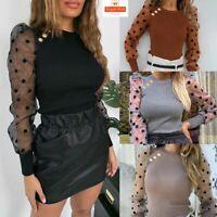 Women Sheer Mesh Puff Sleeve Polka Dot Tops Jumper Ladies Casual Pullover Blouse
