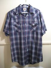 ELY CATTLEMAN tall man, short sleeve pearl snap shirt size tall 16 1/2