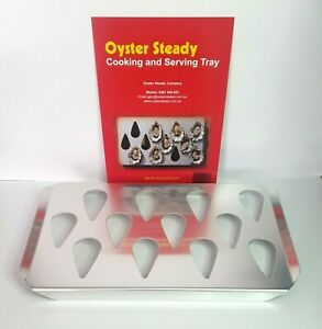 Oyster Steady Cooking & Serving Tray Holds 12 Kitchen Oven Dish Grill BBQ Gift