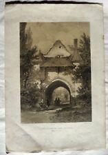 TRES BELLE GRAVURE ORIGINALE « PORTE DE L'ANCIENNE ABBAYE DE LOROUX »
