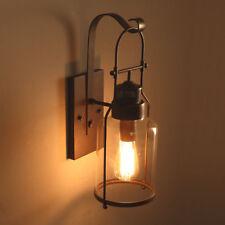 Industrial Loft Single Wall Sconce Hanging Glass Bottle Rust Metal Lantern Light