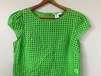 VINEYARD VINES Women's Green Cutout Eyelet Short Sleeve Top Shirt Blouse sz 6