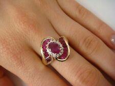 14K Yellow Gold Finish 2CT Oval Cut Ruby & Diamond Women's Wedding Cocktail Ring