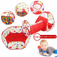 3 IN 1 Play Tent Kids Toddlers Tunnel Set Children Cubby Playhouse Home Outdoor