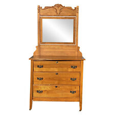 Antique Farmhouse Victorian Country Carved Oak Dresser with Mirror