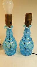 """Blue opalescent thumbprint pair 7"""" lamps Fenton?"""