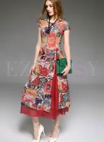 NWT Stylewe Vintage Print Silk Cheongsam Dress S/M/L/XL