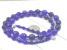 Vintage Style Necklace Czech Glass Faceted Cobalt Graduated Long Strand nSilver