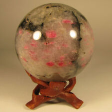 """2.4"""" Pink RHODONITE Crystal Sphere Ball w/ Stand - Madagascar - 62mm"""