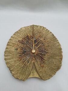 Virginia Metalcrafters Rare 1949 Brass Lily Pad Leaf Tray Signed Oskar JW Hansen