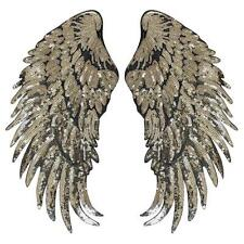 Gold Large Feather Sequin Badge Iron On Embroidery Patches Applique Cloth Patch